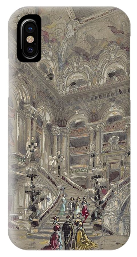 Drawn To Paris - Sketch Record Of Paris Buildings & Street Scenes From The 2nd Half Of The 19th Century - La Rue St Bon IPhone X Case featuring the painting Drawn To Paris by Celestial Images