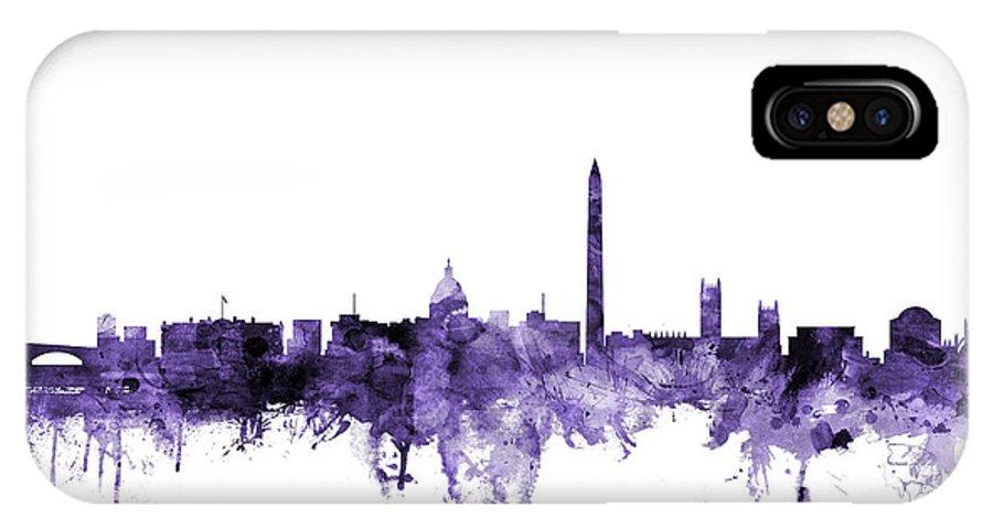 Skyline IPhone X Case featuring the digital art Washington Dc Skyline by Michael Tompsett