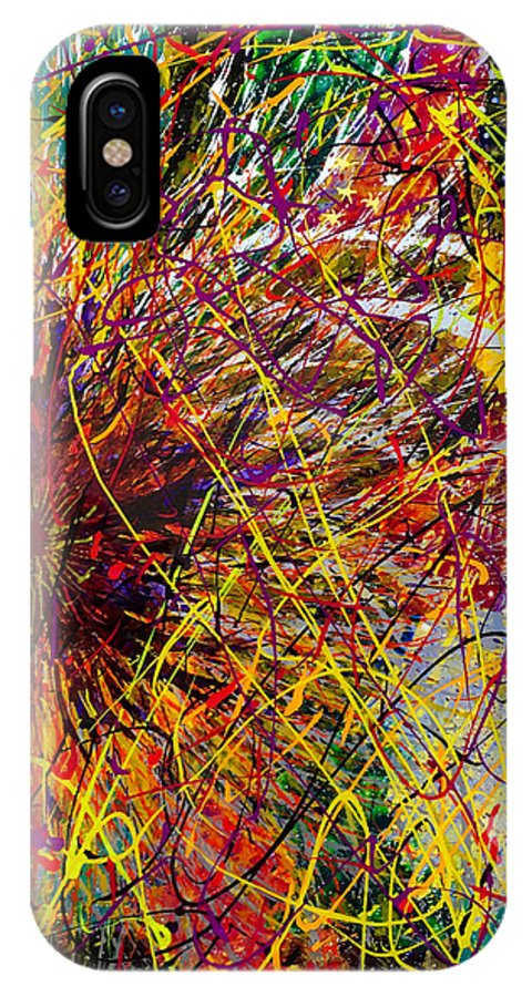 Abstract IPhone X Case featuring the painting 16-10 String Burst by Patrick OLeary