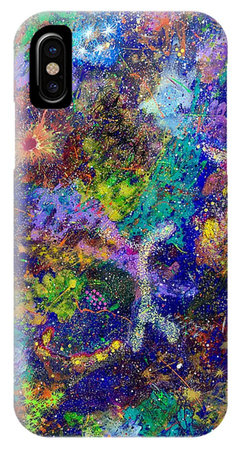 Abstract IPhone X Case featuring the painting 16-6 Lambda Sky by Patrick OLeary