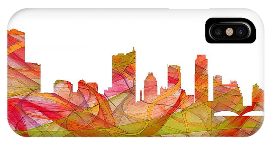 Austin Texas Skylineskyline IPhone X Case featuring the digital art Austin Texas Skyline by Marlene Watson