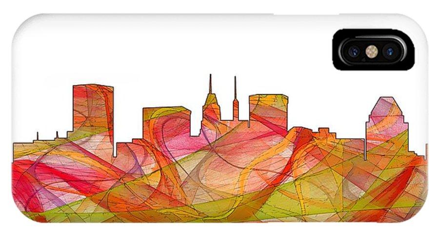 Baltimore Maryland Skylineskyline IPhone X Case featuring the digital art Baltimore Maryland Skyline by Marlene Watson