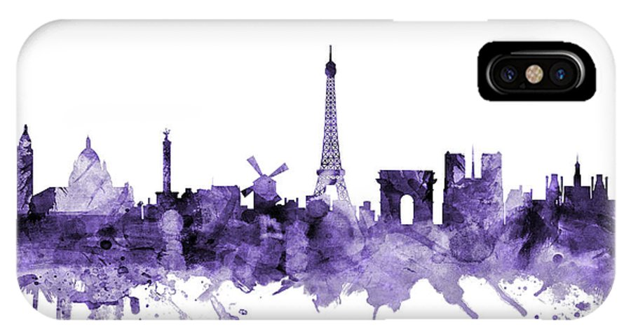 Paris IPhone X Case featuring the digital art Paris France Skyline by Michael Tompsett