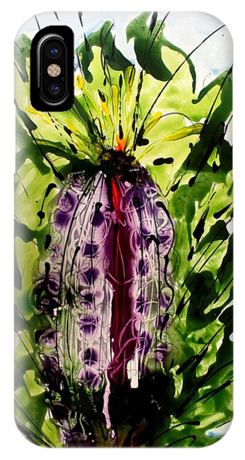 IPhone X Case featuring the painting The Divine Flower by Baljit Chadha