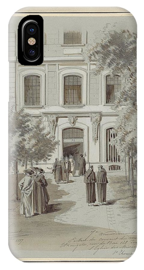 Drawn To Paris - Sketch Record Of Paris Buildings & Street Scenes From The 2nd Half Of The 19th Century - Grand Escalier De L'op�ra (1800s) IPhone X Case featuring the painting Drawn To Paris by Celestial Images