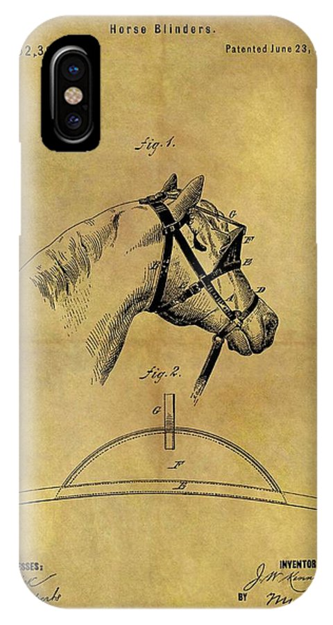 1874 Horse Blinder Patent IPhone X Case featuring the drawing 1874 Horse Blinder Patent by Dan Sproul