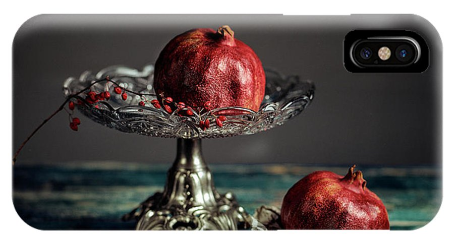 Still Life IPhone X Case featuring the photograph Pomegranate by Nailia Schwarz