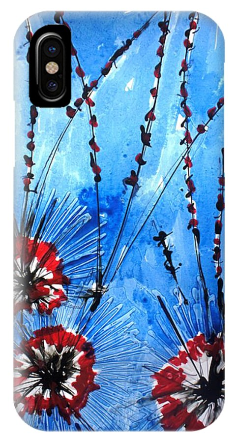 Floral IPhone X Case featuring the painting Heavenly Flowers by Baljit Chadha