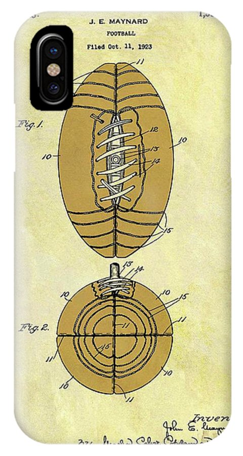 1925 Football Patent IPhone X Case featuring the drawing 1925 Football Patent by Dan Sproul