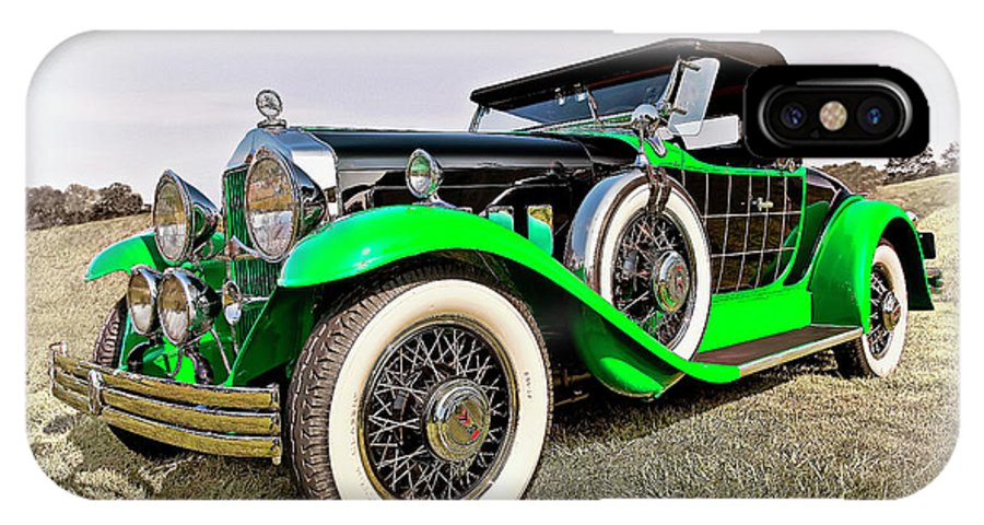 Transportation IPhone X Case featuring the photograph 1930 Willys Knight 66b-plaidside by Marcia Colelli