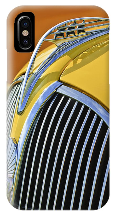 1937 Plymouth IPhone X Case featuring the photograph 1937 Plymouth Hood Ornament 2 by Jill Reger