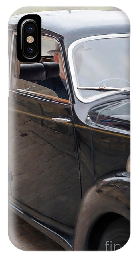 Woman IPhone X Case featuring the photograph 1940s Couple Driving In A Vintage Car by Lee Avison