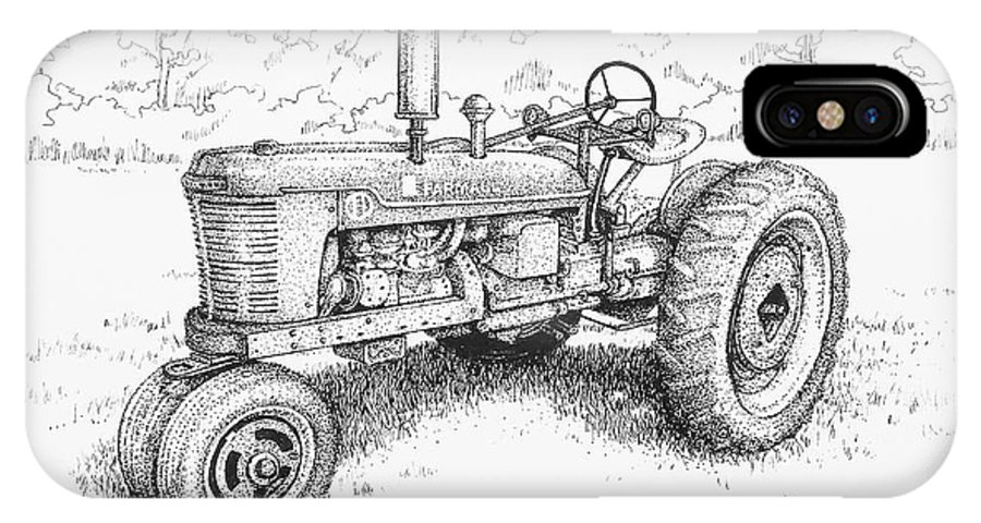 Vintage Tractor IPhone X Case featuring the drawing 1942 Farmall by Tanja Ware