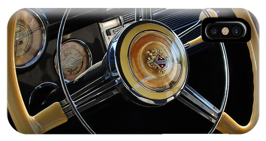 Car IPhone X Case featuring the photograph 1947 Buick Eight Super Steering Wheel by Jill Reger