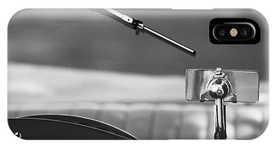 Transportation Car Detail IPhone X Case featuring the photograph 1948 Mg Tc Rear View Mirror Black And White by Jill Reger