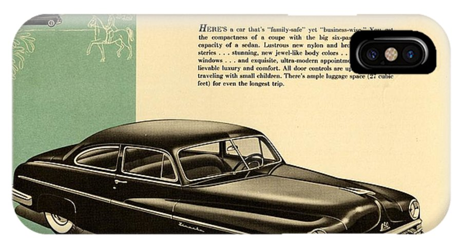 1950 Lincoln 6 Passenger Coupe IPhone X Case featuring the drawing 1950 Lincoln 6 Passenger Coupe by Allen Beilschmidt