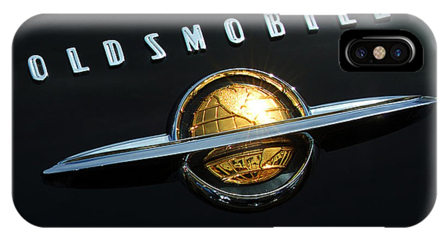 Car IPhone X Case featuring the photograph 1950 Oldsmobile Rocket 88 Convertible Emblem by Jill Reger