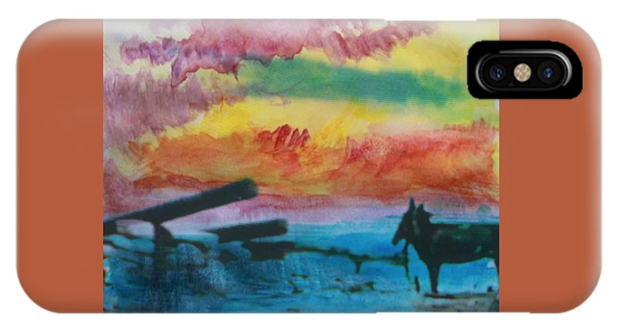 Abstract IPhone X Case featuring the photograph 1950's - In The Hopi Village by Lenore Senior