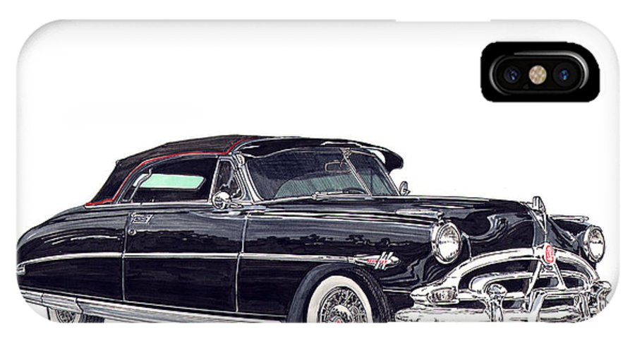 Framed Prints Of Great American Classic Cars Framed Canvas Prrnts Of Hudson Hornets IPhone X Case featuring the painting 1952 Hudson Hornet Convertible by Jack Pumphrey