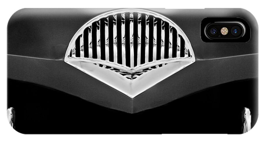 Transportation IPhone X Case featuring the photograph 1954 Kaiser Darrin Grille Black And White by Jill Reger