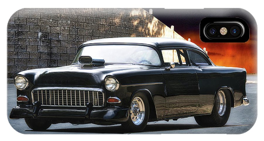 Auto IPhone X Case featuring the photograph 1955 Chevrolet Coupe 'sinister Chevy' by Dave Koontz