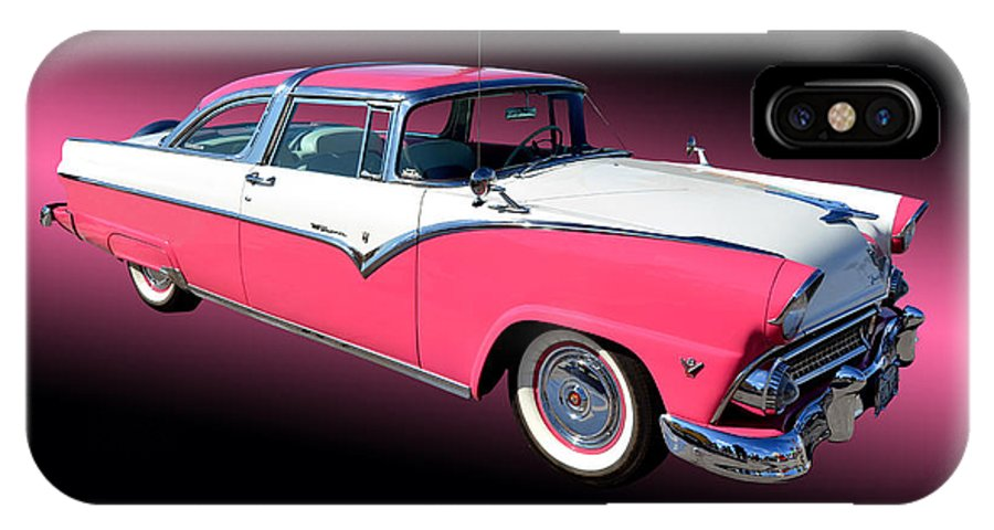 Car IPhone X Case featuring the photograph 1955 Ford Fairlane Crown Victoria by Jim Carrell