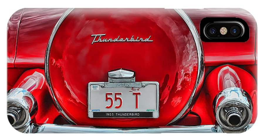 Car IPhone X Case featuring the photograph 1955 Thunderbird by Elaine Manley