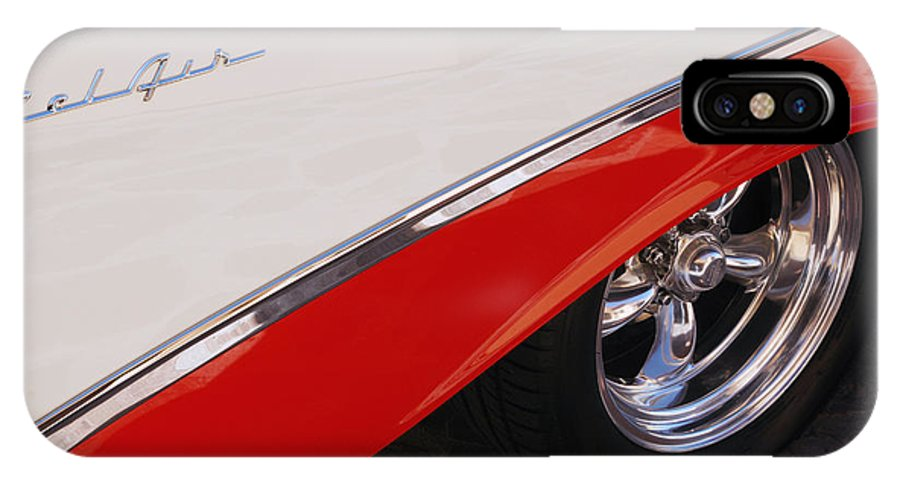 Chevy IPhone X Case featuring the photograph 1956 Chevrolet Belair Convertible Wheel by Jill Reger