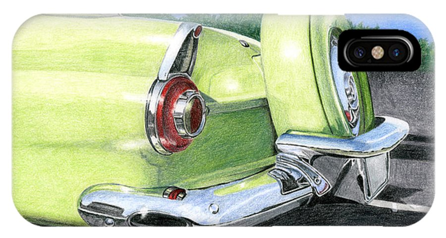 Classic IPhone X Case featuring the drawing 1956 Ford Thunderbird by Rob De Vries