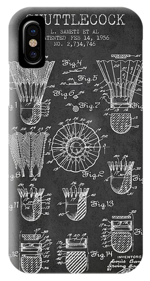 Badminton IPhone X Case featuring the digital art 1956 Shuttelcock Patent Spbm04_cg by Aged Pixel