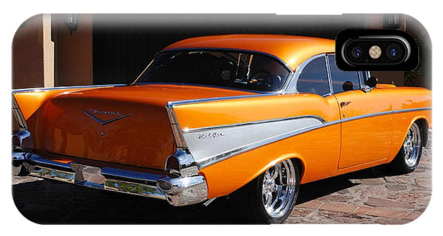 Car IPhone X Case featuring the photograph 1957 Chevrolet Belair Coupe by Jill Reger
