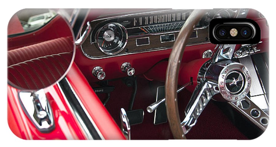 1965 IPhone X Case featuring the photograph 1965 Ford Mustang Fastback Dash by Glenn Gordon