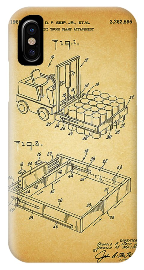 1966 Forklift Clamp Patent IPhone X Case featuring the mixed media 1966 Forklift Clamp Patent by Dan Sproul