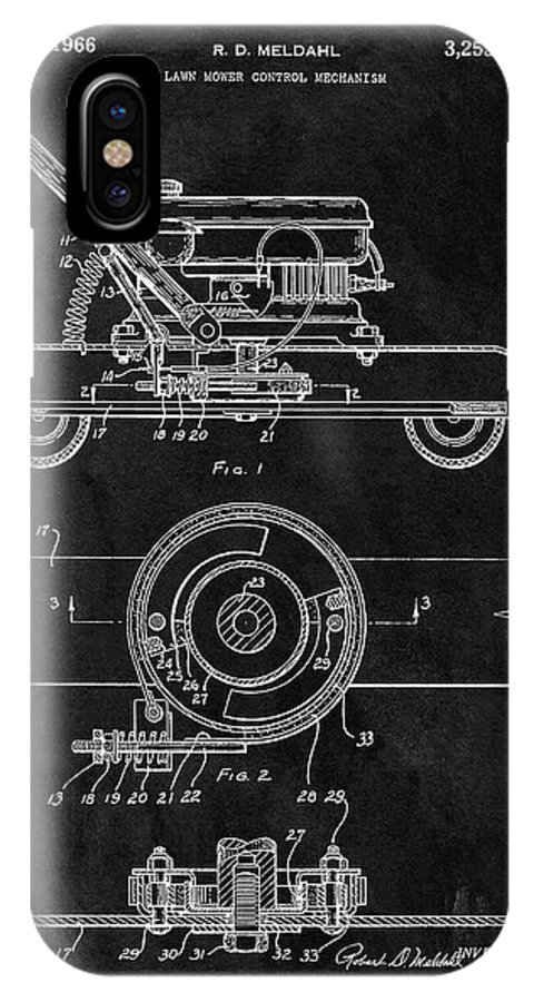 1966 Lawn Mower Patent IPhone X Case featuring the drawing 1966 Lawn Mower Patent Image by Dan Sproul