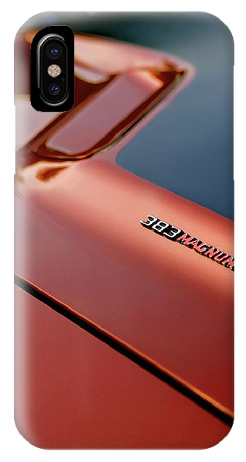 1970 IPhone X Case featuring the photograph 1970 Dodge Challenger Rt 383 Magnum Hood by Gordon Dean II