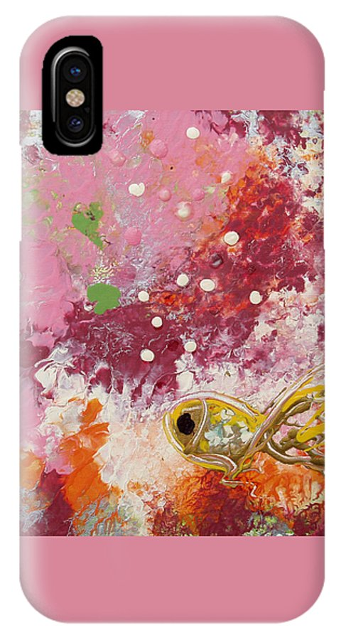 Fish IPhone X Case featuring the painting 1 Gold Fish by Gina De Gorna