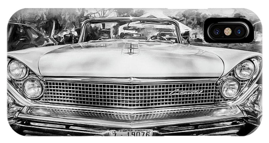 1959 Lincoln IPhone X Case featuring the painting 1959 Lincoln Continental Town Car Mk Iv Painted Bw  by Rich Franco