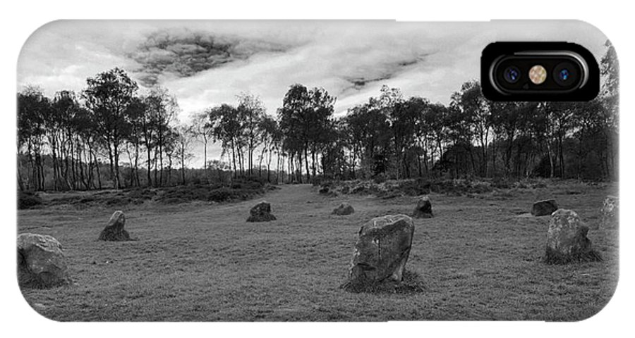 9 Ladies Stone Circle IPhone X Case featuring the photograph 9 Ladies Stone Circle, Stanton Moor, Peak District National Park by Dave Porter