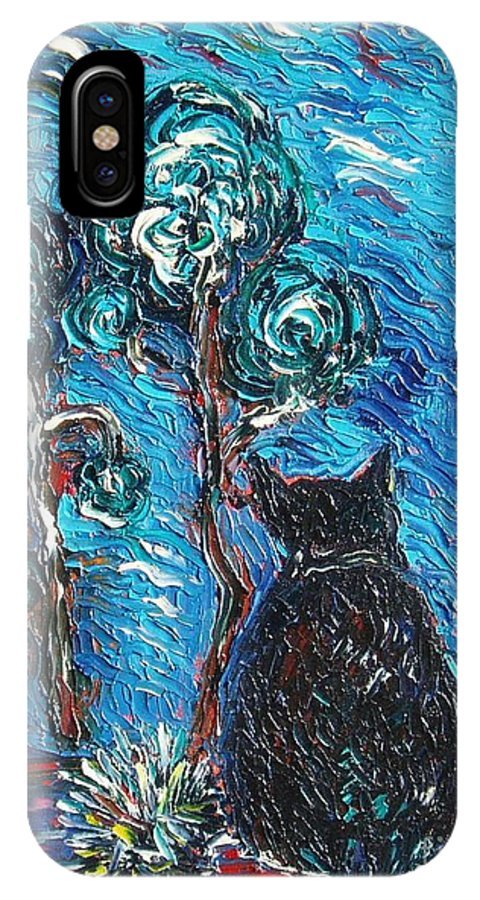 Cat Paintings IPhone X Case featuring the painting A Black Cat by Seon-Jeong Kim