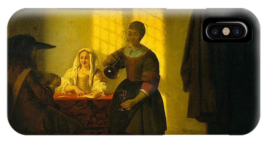 Pieter De Hooch A Couple Playing Cards With A Serving Woman IPhone X Case featuring the painting A Couple Playing Cards With A Serving Woman by Pieter de Hooch
