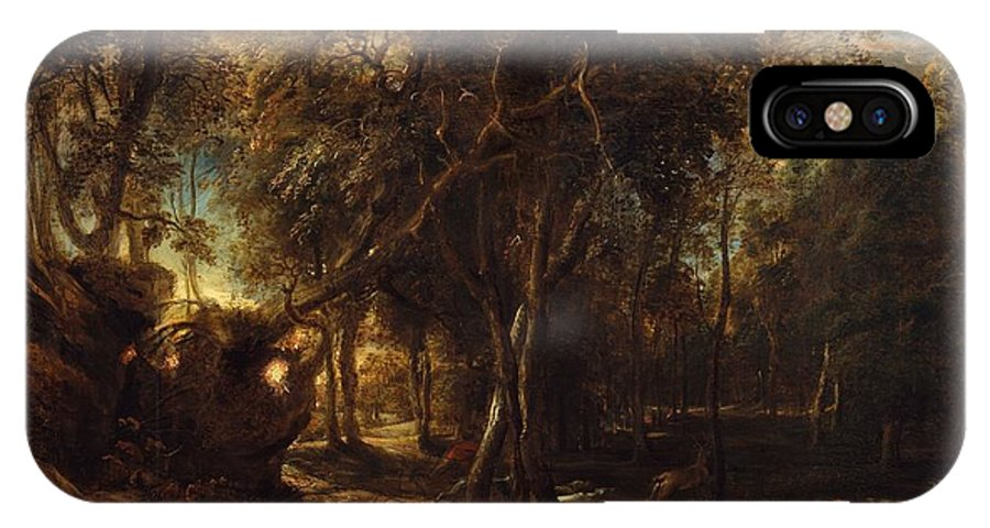 Peter Paul Rubens A Forest At Dawn With A Deer Hunt IPhone X Case featuring the painting A Forest At Dawn With A Deer Hunt by Peter Paul Rubens