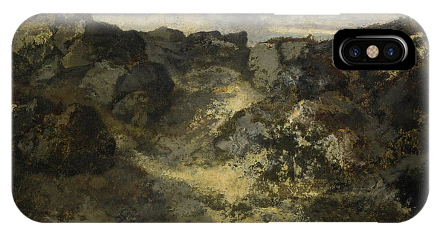 Barbizon School IPhone X Case featuring the painting A Rocky Landscape by Theodore Rousseau