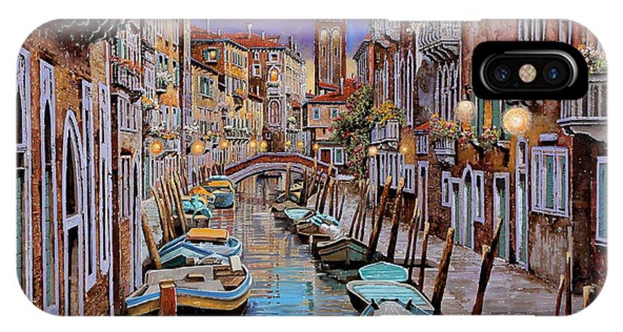 Venezia IPhone X Case featuring the painting Quasi L'alba by Guido Borelli