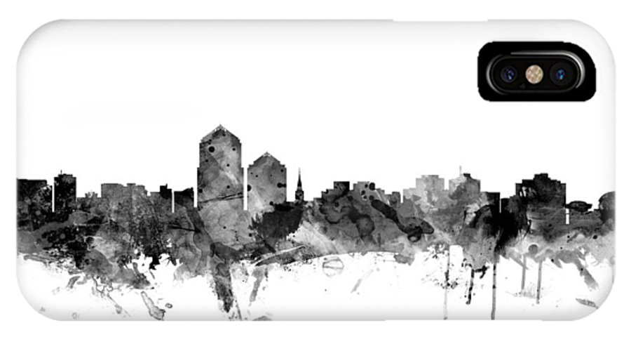United States IPhone X Case featuring the digital art Albuquerque New Mexico Skyline by Michael Tompsett