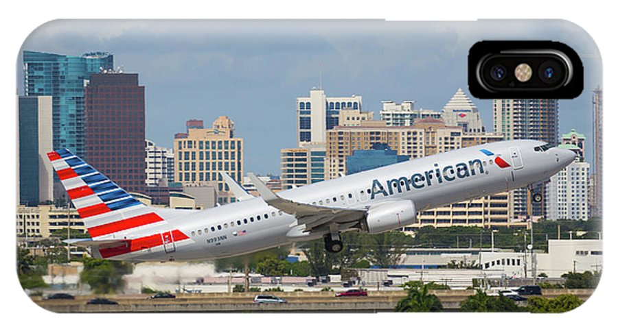 American IPhone X Case featuring the photograph American Airlines by Dart and Suze Humeston