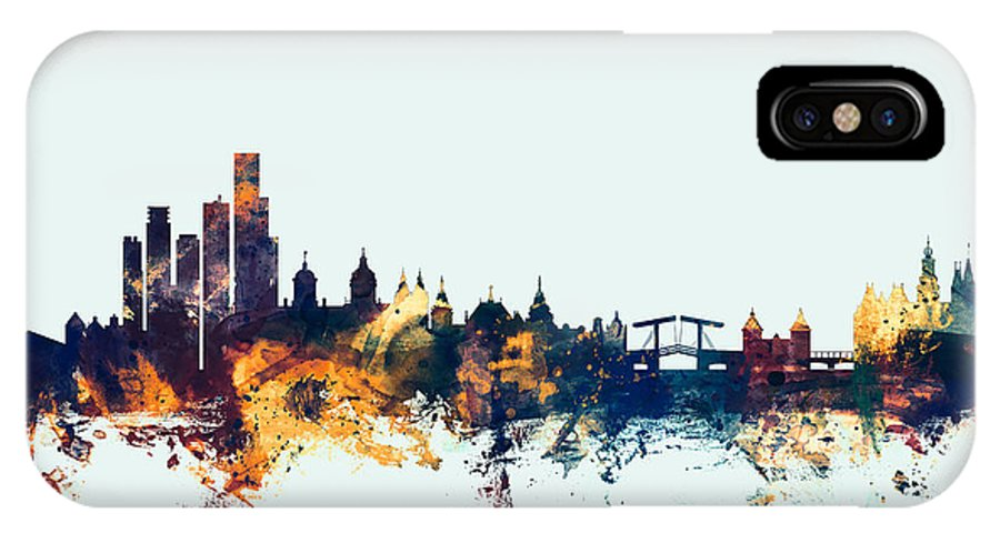 Amsterdam IPhone X Case featuring the digital art Amsterdam The Netherlands Skyline by Michael Tompsett