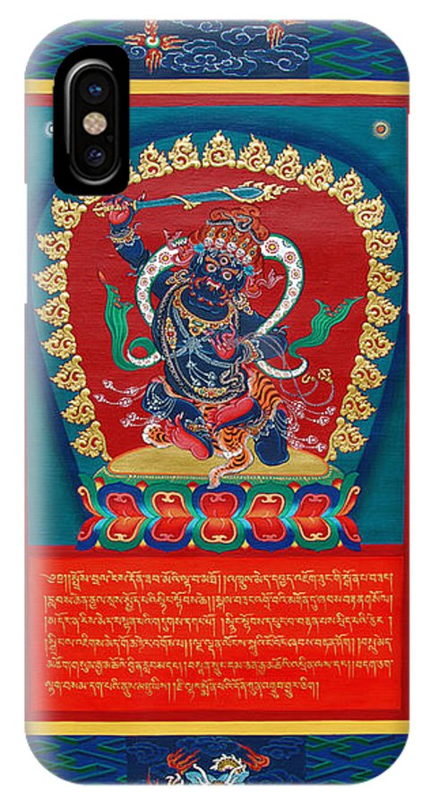 Thangka IPhone X Case featuring the painting Arya Achala - Immovable One by Sergey Noskov
