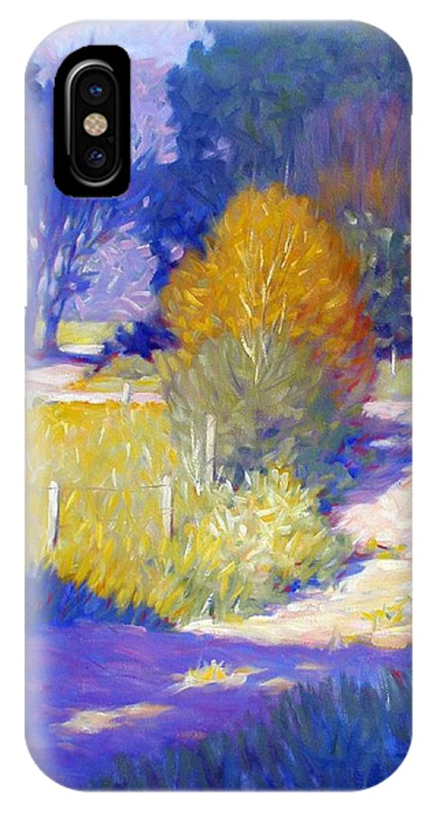 Landscape IPhone X Case featuring the painting Back Road by Kevin Lawrence Leveque