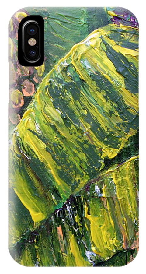 Tropical IPhone X Case featuring the painting Banana Leaves by Carol P Kingsley