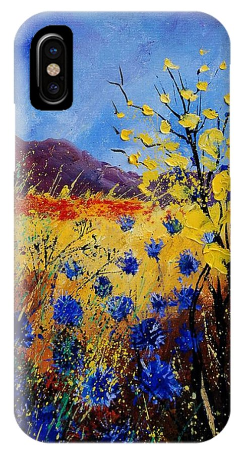 Poppies Flowers Floral IPhone X Case featuring the painting Blue Cornflowers by Pol Ledent